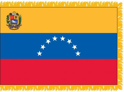 FWI-240-3X5VENEZUELA Venezuela with Seal 3' x 5' Indoor Flag with Pole Sleeve and Fringe-0