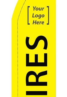 FF-T2-38-TH Yellow Tires 3' x 8' Half Drop Feather Flag-0