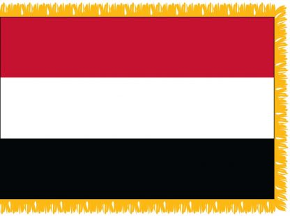 FWI-210-3X5YEMEN Yemen 3' x 5' Indoor Flag with Pole Sleeve and Fringe-0