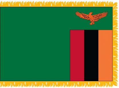 FWI-240-4X6ZAMBIA Zambia 4' x 6' Indoor Flag with Pole Sleeve and Fringe-0