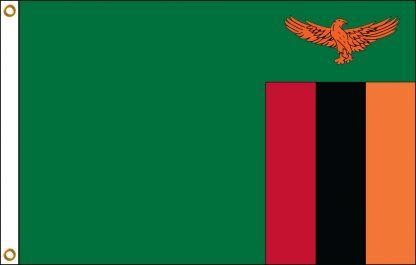 FW-140-ZAMBIA Zambia 2' x 3' Outdoor Nylon Flag with Heading and Grommets-0