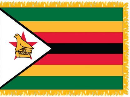 FWI-240-4X6ZIMBABWE Zimbabwe 4' x 6' Indoor Flag with Pole Sleeve and Fringe-0