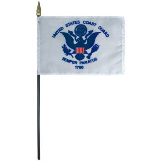 """AFF-105 Coast Guard 4"""" x 6"""" Staff-mounted Rayon-0"""