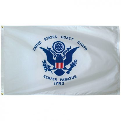 AFF-905 Coast Guard 5' x 8' Outdoor Nylon Flag with Heading and Grommets-0