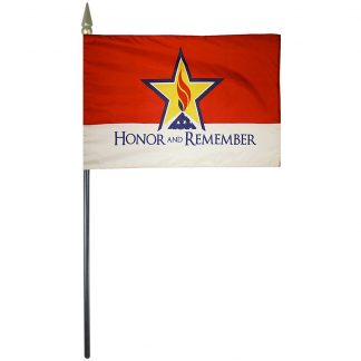 """HRM-46 Honor & Remember 4'' x 6"""" Rayon Stick Flag-0"""