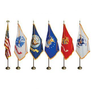 MPS-100 7' Pole/ 3' x 5' Flag- Military & U.S. Indoor Presentation Set -0