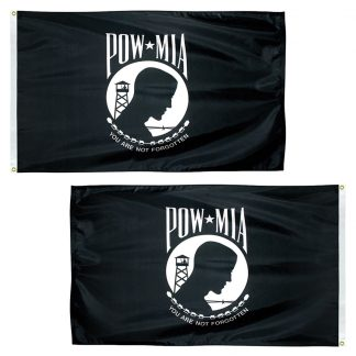 PWD-35-P POW-MIA 3' x 5' Economy Double Sided Polyester with Heading and Grommets-0