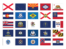 Complete Set of 50 Outdoor State Flags