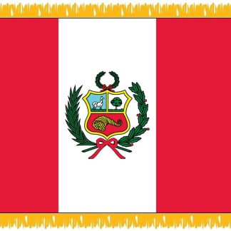 FWI-230-3X5PERU Peru with Seal 3' x 5' Indoor Flag with Pole Sleeve and Fringe-0