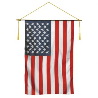 "CRS-2436 24'' x 36"" U.S. Black Staff-mounted Classroom Banner-0"