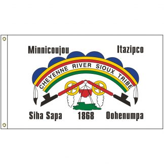 NAT-2x3-CRS 2' x 3' Cheyenne River Sioux Tribe Flag With Heading And Grommets-0