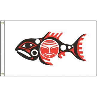 NAT-2x3-CHINOOK 2' x 3' Chinook Tribe Flag With Heading And Grommets-0