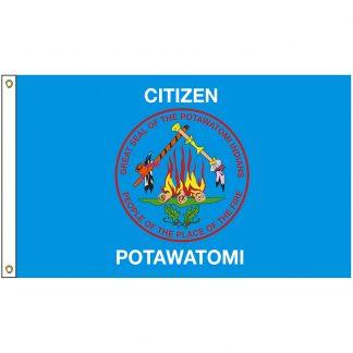 NAT-3x5-POTAWATOMI 3' x 5' Citizen Potawatomi Tribe Flag With Heading And Grommets-0