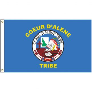 NAT-2x3-CDA 2' x 3' Coeur d'Alene Tribe Flag With Heading And Grommets-0