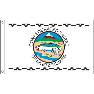 NAT-3x5-SILETZ 3' x 5' Confederated Tribes of the Siletz Reservation Flag With Heading And Grommets-0