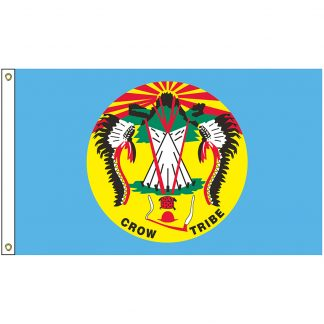 NAT-5x8-CROW 5' x 8' Crow Nation Tribe Flag With Heading And Grommets-0