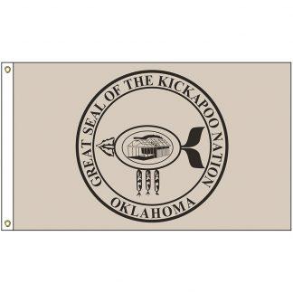 NAT-3x5-KICKAPOO 3' x 5' Kickapoo Tribe Flag With Heading And Grommets-0