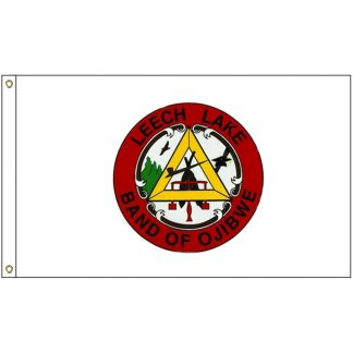 NAT-5x8-LEECHLAKE 5' x 8' Leech Lake Tribe Flag With Heading And Grommets-0