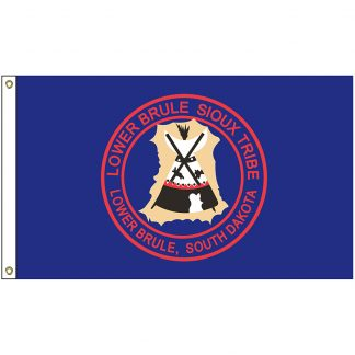 NAT-2x3-LBS 2' x 3' Lower Brule Sioux Tribe Flag With Heading And Grommets-0