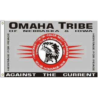NAT-2x3-OMAHA 2' x 3' Omaha Tribe Flag With Heading And Grommets-0
