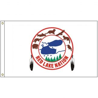 NAT-3x5-RLO 3' x 5' Red Lake Ojibwe Tribe Flag With Heading And Grommets-0