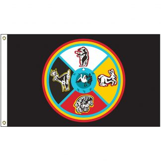 """NAT-4x6-SSM 4' x 6' Sault Ste. Marie of """"Chippewa"""" Indians Tribe Flag With Heading And Grommets-0"""