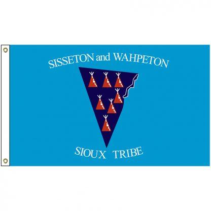 NAT-3x5-SISSETON 3' x 5' Sisseton & Wahpeton Tribe Flag With Heading And Grommets-0