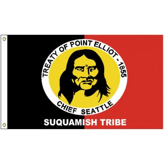 NAT-4x6-SUQUAMISH 4' x 6' Suquamish Tribe Flag With Heading And Grommets-0