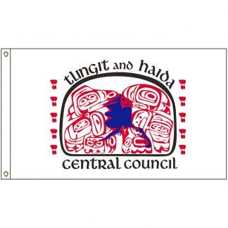 NAT-5X8-TLINGIT 5' x 8' Tlingit & Haida Tribe Flag With Heading And Grommets-0