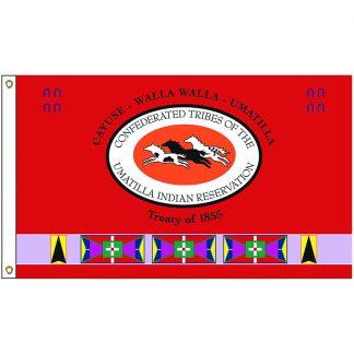 NAT-2x3-UMATILLA 2' x 3' Umatilla Tribe Flag With Heading And Grommets-0