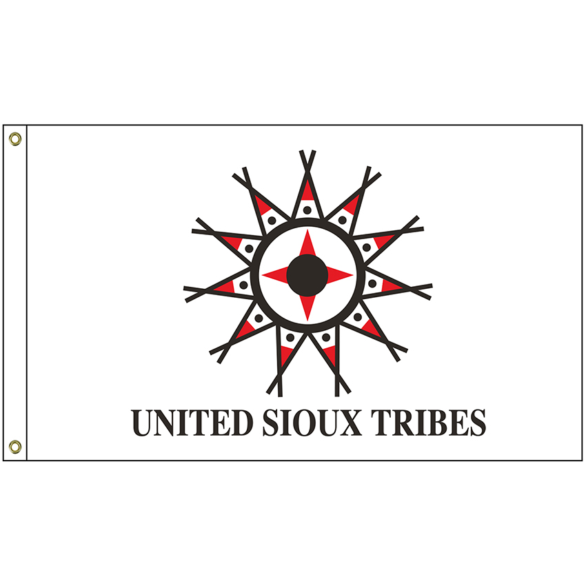 NAT-2x3-UST 2' x 3' United Sioux Tribes Flag With Heading And Grommets