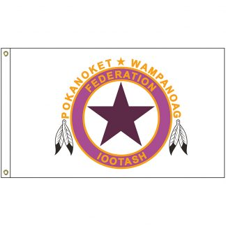 NAT-5x8-WAMPANOAG 5' x 8' Wampanoag Tribe Flag With Heading And Grommets-0
