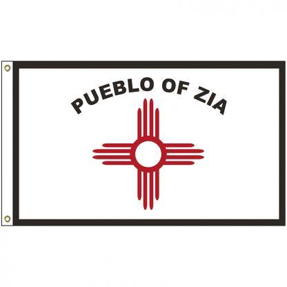 NAT-3x5-PUEBLO 3' x 5' Zia Pueblo Tribe Flag With Heading And Grommets-0