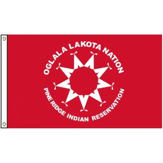 NAT-2x3-OSN 2' x 3' Oglala Sioux Nation Tribe Flag With Heading And Grommets-0
