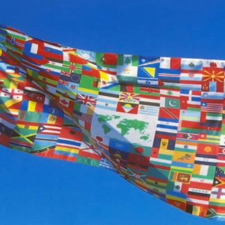 WF-58 5' x 8' Nylon World Flag with Heading and Grommets-0