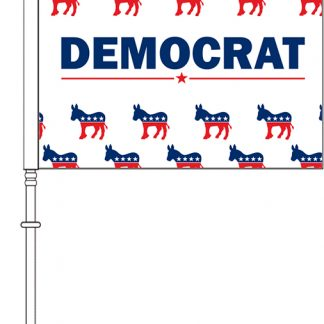 "PPF-115DDP-DPARTY 11.5'' x 15"" Democrat Party Donkey Pattern Car Flag - Double Sided-0"