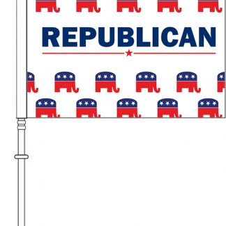 "PPF-115DEP-RPARTY 11.5'' x 15"" Republican Elephant Pattern Car Flag - Double Sided-0"