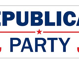 PPF-SCROLL-RPARTY-D 9.5'' x 27.5'' Republican Party Digitally Printed Scroll Banner - Double Sided-0