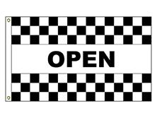 Open - Black Checkered