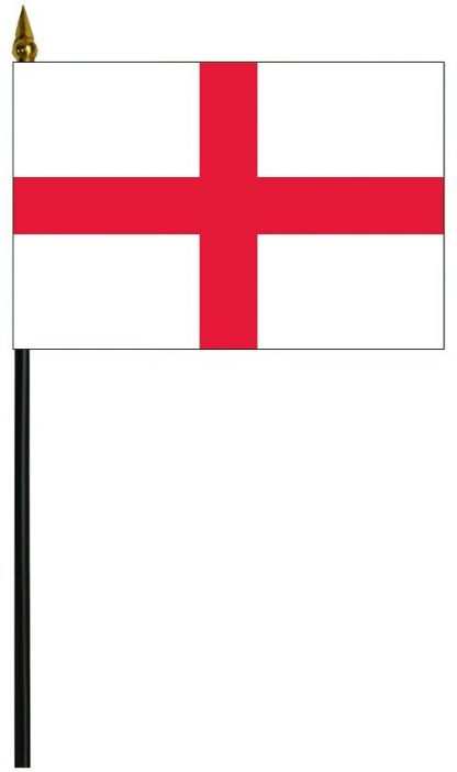 HF-110 England - Cross of St. George 4'' x 6'' Staff Mounted Flag -0