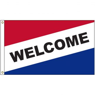 A-8000 Welcome 3' x 5' Diagonal Flag with Heading and Grommets-0