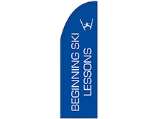 Beginning Ski Lessons Half Drop Feather Flag