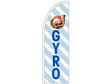 White & Blue Gyro Half Drop Feather Flag