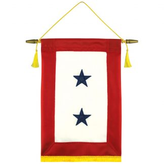 """440191-S2 8'' x 15"""" Service Star Banner with Two Stars-0"""