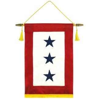 "440191-S3 8'' x 15"" Service Star Banner with Three Stars-0"