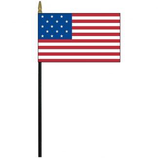 "EOG-461-15 15 Star 4"" x 6"" Mounted Stick Flag (1795-1818)-0"