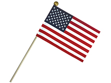 Economy Cotton U.S. Stick Flags With Ball Top