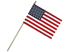 Economy Cotton U.S. Stick Flags With Spear Top
