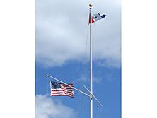 Nautical Flagpole With Yardarm And Gaff Hinged Base White Fiberglass
